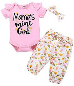 Baby Clothes Floral Pants+Letter Romper+Belt+Headband Summer Outfit Sets Pink 9M