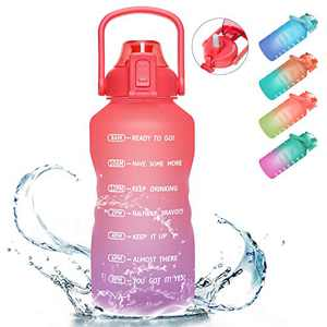 PASER Gallon Motivational Water Bottle with Time Marker & Straw, 128oz Leakproof Tritan BPA Free Water Jug (3.78L) with Durable Handle for Fitness Outdoor Enthusiasts