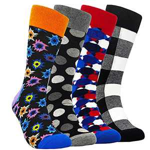 Mens Funny Colorful Dress Socks - HSELL Novelty Pattern Crazy Design Fun Crew Cotton Socks Fancy Gifts for Men (4 Pairs Grey Grid Assorted)