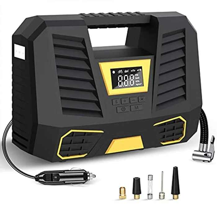 Portable Air Compressor for Car Tires,12V 150PSI Digital Tyre Inflator with Tyre Pressure Gauge And LED Light,Car Tyre Pump with Auto Shut Off Feature for Car Bike Tires and Other Inflatables