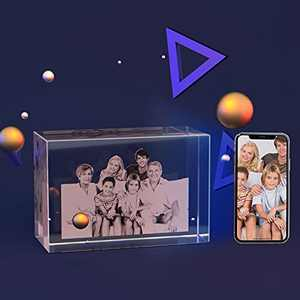 Bixme Customized 3D Crystal Photo with Optional Base, Unique Laser Engraved Birthday Gifts for Baby&Kids&Son&Daughter, Best Anniversary Gifts for Him/Her