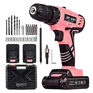 jar-owl 21V Pink Tool Set with Drill, Cordless Drill/Driver Set with 3/8 Inch Keyless Chuck,1.5AH 2PCS Battery and Charger for Home Tool Kit