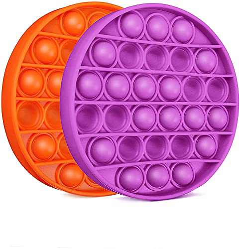 SUPBEC 2 Pcs Push Pop Pop Bubble It Sensory Fidget Toy, Squeeze Sensory Toy, Autism Special Needs Stress Reliever Pressure Reliever Toy, Anti-Anxiety Toys for Kids Children Adults(Orange, Purple)