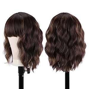 YBOD Curly Bob Wig with Bangs Synthetic Ombre Brown Short Wavy Bob Wig Shoulder Length Highlight Wig for Women(Ombre Brown)