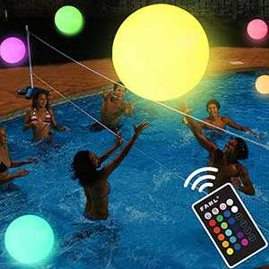 Pool Toys - LED Beach Ball with Remote Control - 16 Colors Lights and 4 Light Modes, 100ft Control Distance - Outdoor Pool Beach Party Games for Kids Adults, Pool Patio Garden Decorations Glow in Dark