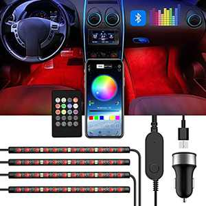ROMALL Interior Car LED Strip Light,DC 5V USB Port Car Charger,with Bluetooth APP Remote Control & Lights Dance with Music,48 LEDs 8Colors Waterproof Multi DIY Color LED Strip Atmosphere Lights Kits