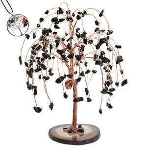 "GEMBOURY Handmade Black Tourmaline Healing Crystal Money Tree 6.3"" Ornament,Tree of Life Pendant Necklace, Reiki 157 Gemstone on Geode Agate Slice Base Feng Shui Luck Figurine Bonsai Home Office Decor"