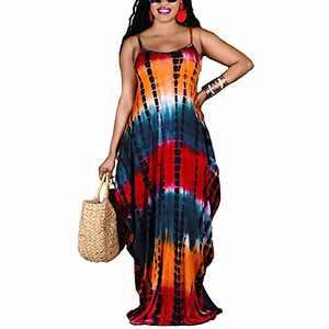 Annystore Women's Summer Casual Loose Dress Bohemian Print Spaghetti Strap Pocketed Tie Dye Long Maxi Dress (XXX-Large, Orange)