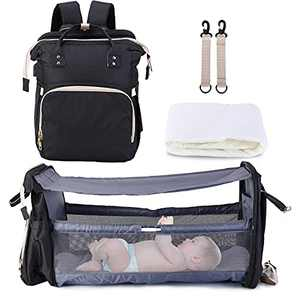 3 in 1 Diaper Bag Backpack with Changing Station,Multi-Function Waterproof Baby Bag with Travel Bassinet for Baby Girls Boys,Baby Shower Gifts,with USB Charging Port and Shade Cloth