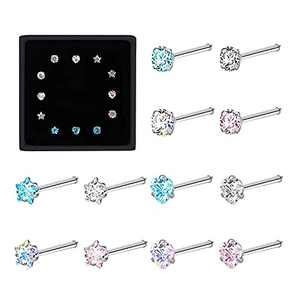 OMAIGAR Nose Rings for Women, 20g Surgical Stainless Steel Nose Studs, Body Nose Piercings Jewelry Colorful Round/Heart/Pentagram Shapes AAA Zircon Idea Gift for Wife or Daily Wear