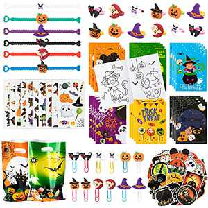 WATINC 128pcs Halloween Coloring Books Party Favors Set for Kids, Trick or Treat Candy Goodie Bag Fillers Party Supplies, Halloween Wristbands Rings Candy Bags Temporary Tattoo for Boys Girls