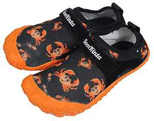 BomKinta Kids Summer Water Shoes Barefoot Boys Girls Quick Drying Athletic Shoes for Beach Swim Pool or Water Sport Comfortable Walking Sneakers Black Orange Size 13 M US Little Kid