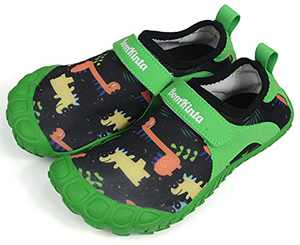 BomKinta Kids Summer Water Shoes Barefoot Boys Girls Quick Drying Athletic Shoes for Beach Swim Pool or Water Sport Comfortable Walking Sneakers Black Green Size 2.5 M US Big Kid