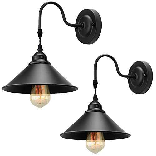 Wall Sconce Lighting 2 Pack, Industrial Black Wall Lamp, Metal Wall Mounted Light Fixtures, E26 Base Wall Lights Bedside Lamp Bathroom Vanity Lights