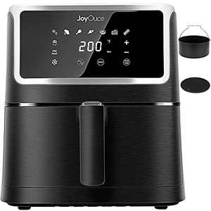 JOYOUCE Air Fryer 5.8 QT with ExtraAir Fryer Accessories for Oilless Cooking,Smart Touch Screen with 8 Presets Xl Air Fryer Oven for Roast,Bake,Grill,1700W (5.8qt, black-2a)
