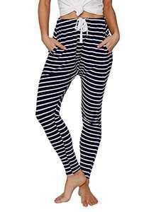 Ferlema Womens Lightweight Cargo Pants Harem Pants Summer Casual Drawstring Elastic Waist Joggers Pants with Pockets Navy Blue Large