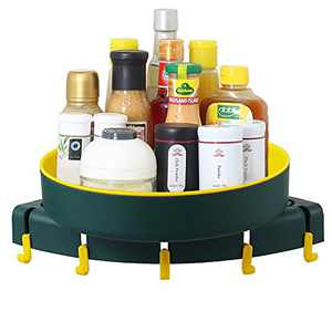 Orgneas Lazy Susan Turntable for Corner, 360 Degree Rotating Spice Rack Organizer for Kitchen and Bathroom (Green)