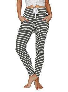 Ferlema Women's Sweatpants Capri Pants Casual Striped Pants Cropped Jogger Running Pants Lounge Loose Fit Drawstring Waist with Side Pockets Dark Grey Medium