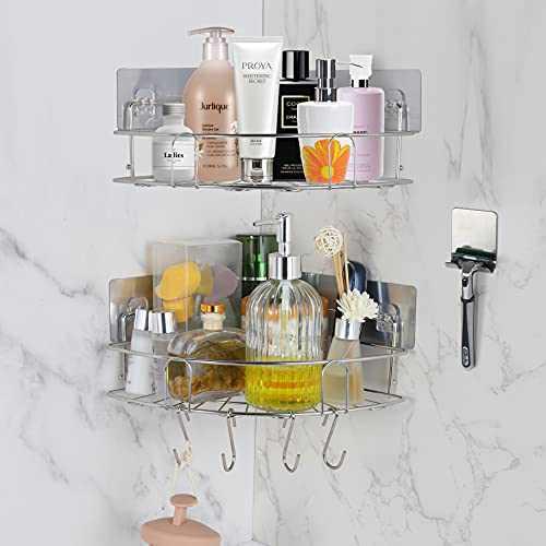 ONEDONE Corner Shower Caddy 2-Pack Shower Organizer Corner w/ Hooks & Razor Holder Stainless Steel Adhesive Bathroom Organizer Shower Caddy Basket for Bathroom Kitchen Toilet Dorm