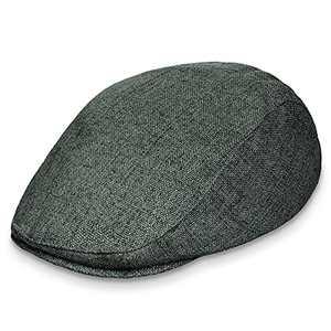 HITRO Breathable Newsboy Hat for Men Linen-Like Mens Flat Cap Summer Scally Paperboy Irish Drivers Gatsby Cabbie Ivy Beret (Dark Green, 7 1/4)