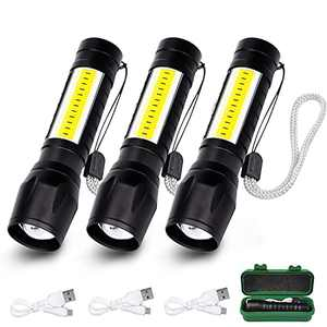 3-Pack USB Rechargeable Flashlight 3 Modes, High Lumen Zoomable LED Flashlight with COB Side Lights, Portable Waterproof Handheld Flashlights for Camping, Outdoor, Emergency and Daily Use