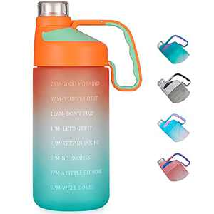 EAILGORL Water Bottles with Motivational Time Marker & Straw Leakproof BPA Free Reusble Flip Top Water Bottle for Sports and Fitness Enthusiasts (A5-Orange/Green Gradient)