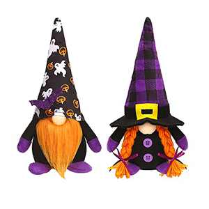 Halloween Gnomes Decorations, 2 Pcs Handmade Swedish Gnomes Plush Table Ornament Halloween Decorations Party Supplies Kids Gift