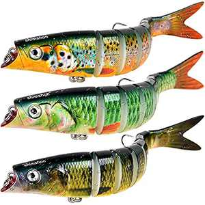 Fishing Lures for Bass, Trout Lures Multi Jointed Trout Bait Slow Sinking Bass Lures with Rattling Sound for Freshwater Saltwater, Fishing Gifts for Men