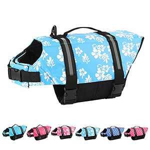 BALYLAS Dog Life Vests,Pet Safety Swimsuit Preserver for Swimming Pool Canoeing Boating, Dog Life Vest for Small/Medium/Large Dogs, BlueFlower/M