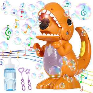 ZaxiDeel Dinosaur Bubble Machine, Automatic Bubble Maker with Music and Lights, Children's Bubble Machine with 1 Bubble Solution, Bubble Toys for Outdoor Indoor Party Bath Time Wedding