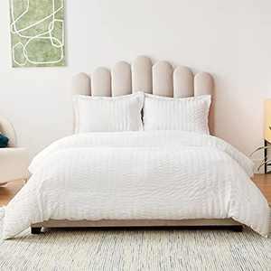 Bedsure Seersuck Double Duvet Set - Microfiber Duvet Cover Sets Quilt Cover Double Size Bed with 2 Pillowcases, White