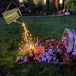 Morestar Solar Watering Can with Lights Outdoor,Hanging Big Solar Lantern,Metal Waterproof Garden Decor Retro Halloween Lights for Table Patio Yards Pathway Garden Gifts(with Installed Light String)
