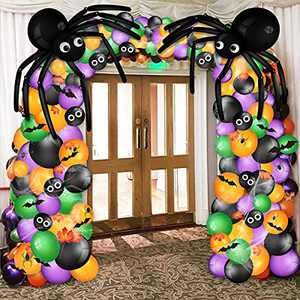 Bonropin Halloween Balloon Garland Arch kit 239 Pcs with Halloween Spider Web and Bat, Maple Leaf, Black Orange Green Purple Balloons Spider Balloons Eyes Balloon for Halloween Day Party Decorations