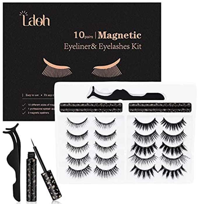 LASHIDOL Magnetic Eyelashes with Eyeliner Kit, 10 Pairs Reusable False Eyelashes with 2 Tubes of Eyeliner and Applicator 3D Natural Look Eyelashes Set Suitable for Multiple Occasions