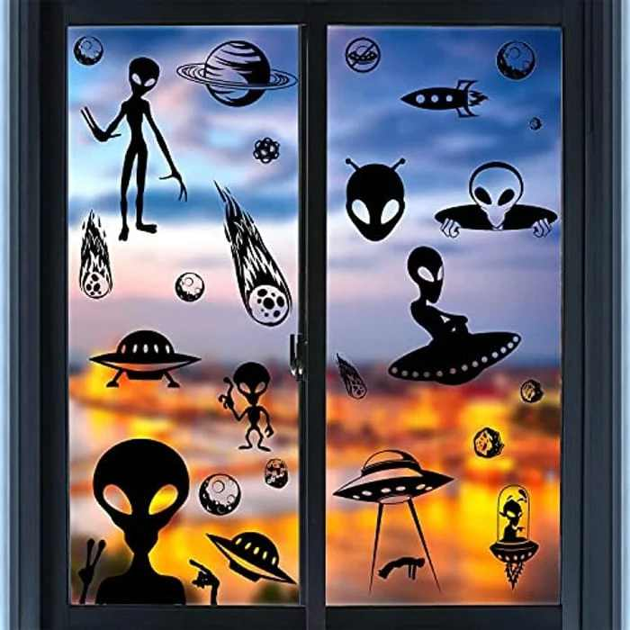 VEYLIN Alien Window Clings Decoration, 93 Pieces Novelty Static UFO Space Sticker Decals Double Sided for Kids Halloween Window Supplies (8 Sheets)