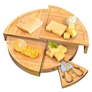 Wetekit Cheese Board and Knife Set, Bamboo Fan-Shaped Charcuterie Boards Swivel Meat Platter Personalized Tray with 2 knives for Housewarming Christmas Thanksgiving Party Birthday Wedding Gifts