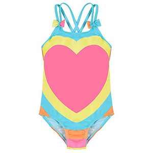 SELINK Baby Girls One Piece Swimsuit Cross Back Bathing Suit Cute Infant Swimwear Beachwear Pink/Heart 6-12Months