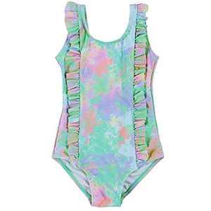SELINK Toddler Baby Girls Swimsuit Ruffled Backless Bathing Suits One Piece Beach Swimwear Tie Dye 1-2T