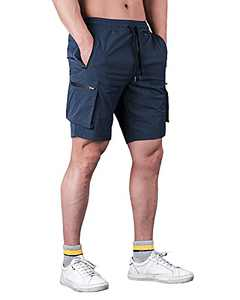 RASXETAL Men's Workout Running Shorts Lightweight Casual Sport Athletic Jogger Gym Shorts with 6 Pockets Navy Blue