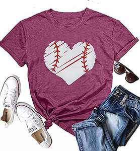 KIDDAD Women's Love Heart Baseball Print Graphic Funny T-Shirt Summer Casual Short Sleeve Tees Top Shirt (Mulberry, M, m)
