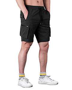 RASXETAL Men's Workout Running Shorts Lightweight Casual Sport Athletic Jogger Gym Shorts with 6 Pockets Black