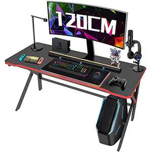 Gaming Desk, Arespark PC Computer Gaming Desk 47 Inch for Gamer, Home Office Desk, Gaming Table Workstation with Carbon Fiber Surface/Cable Management/Large Mouse Pad, Gift for Students and Workman