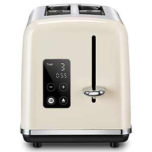 REDMOND Smart Toaster 2 Slice, Extra Wide Slot Toaster with Touch Screen Stainless Steel, Cancel Defrost Reheat Function, 6 Shade Settings, Beige