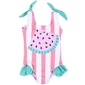 Maketina Baby Girl One Piece Swimsuit Sleeveless Ruffles Toddler Bathing Suits Cute Swimwear Pink 18-24 Months