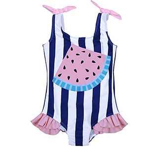 Maketina Baby Girl One Piece Swimsuit Sleeveless Ruffles Toddler Bathing Suits Cute Swimwear Blue 12-18 Months