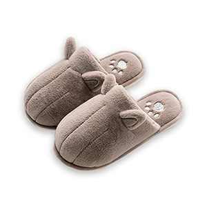 KUBUA Kids Winter Warm Slippers Boys Girls Indoor Bedroom Shoes Brown