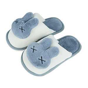 KUBUA Girls Boys Winter Warm Indoor Bedroom Shoes Kids Slippers Blue