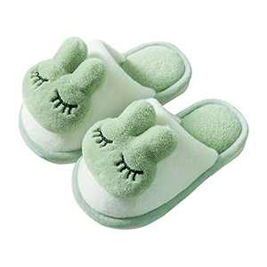 KUBUA Girls Boys Winter Warm Indoor Bedroom Shoes Kids Slippers Green