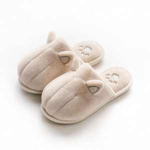 KUBUA Kids Winter Warm Slippers Boys Girls Indoor Bedroom Shoes Beige