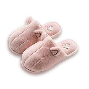 KUBUA Kids Winter Warm Slippers Boys Girls Indoor Bedroom Shoes Pink